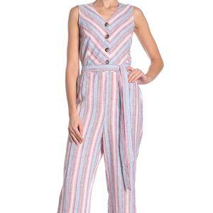 🆕 Como Vintage Tie Waist Linen Blend Jumpsuit